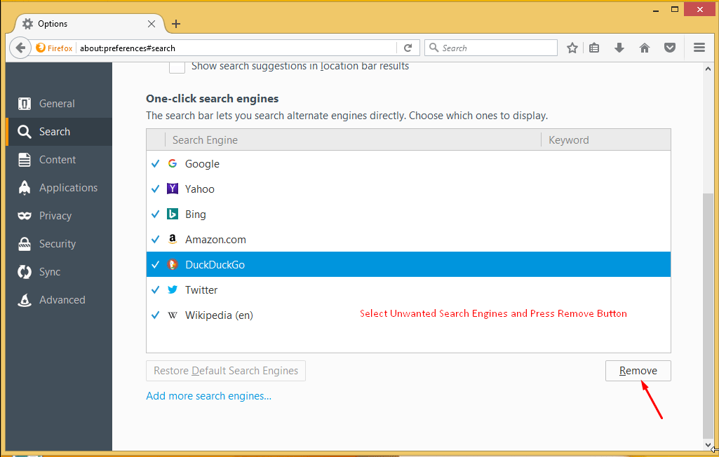 Remove Unwanted Search Engines from Firefox 3
