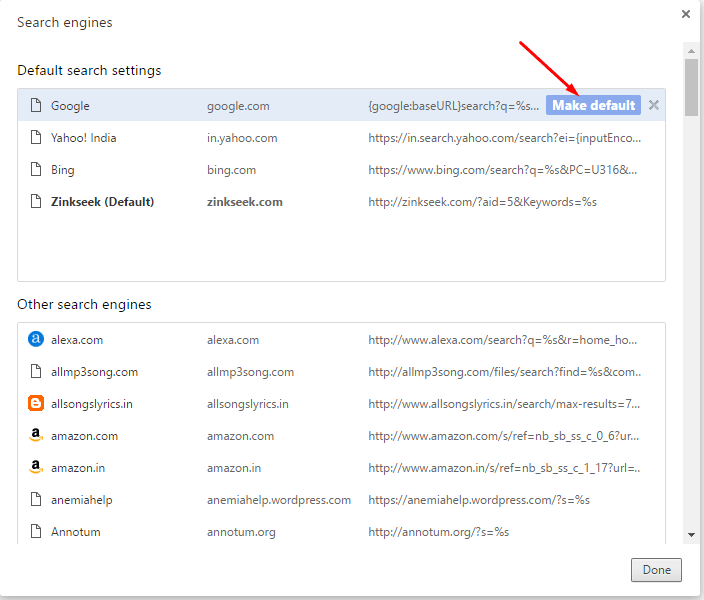 Remove Zinkseek.com Search Engine from Chrome 1